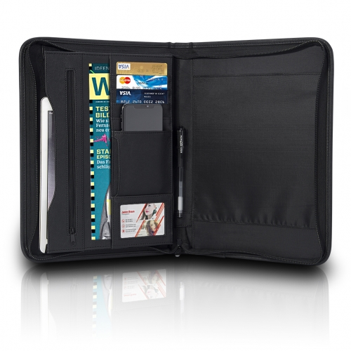ROCONTRIP A5 Portfolio Padfolio Zippered Organizer for 7.9 Tablets, with Pockets Card Slots for Resume Document and Notebook for Business Trip Confere