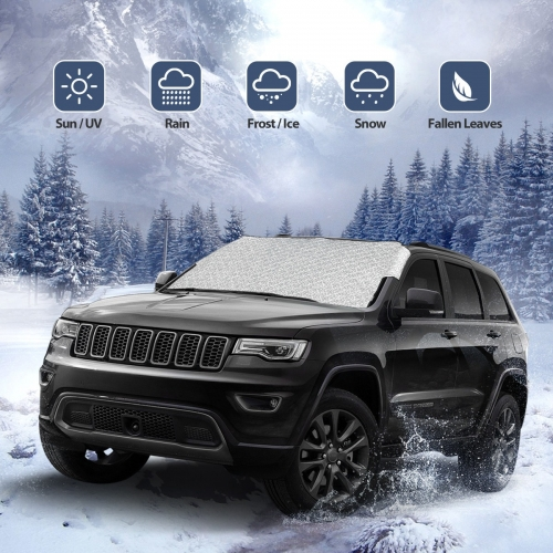 ROCONTRIP Car Windscreen Frost Cover, Windscreen Cover Protector Waterproof Anti-frost Snow Sun Shade Protector Universal Removable Front Window Cover