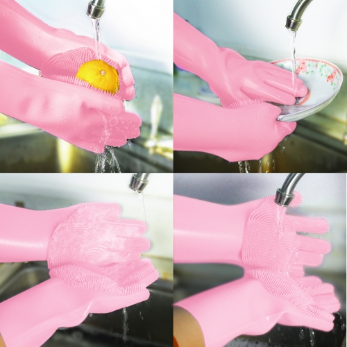 Magic silicone dishwashing gloves scrubber cleaning gloves with reusable brush  heat resistant for cleaning kitch,bathroom, pet, car,household.