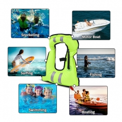 ROCONTRIP Life Jacket Inflatable Life Vest, Reflective Portable Tear-Resistant Snorkel Vest Adult Kids with Adjustable Straps for Snorkeling Diving Ka
