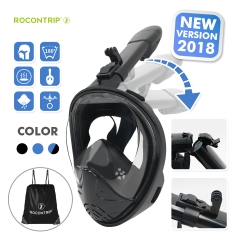 ROCONTRIP New foldable Snorkel Mask Full Face, Panoramic 180°View Design, Anti-Fogging Anti-Leak with Adjustable Head Straps with Longer Snorkeling Tu