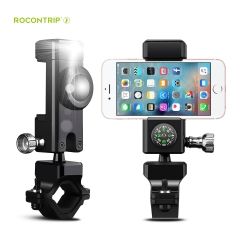 Rocontrip Bike Handlebar Mount LED 360°Rotary Universal Cradle w/ Compass for phones