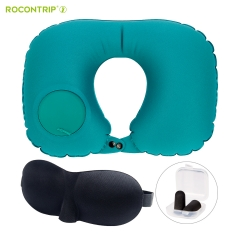 Rocontrip Inflatable Travel Pillow, Compact Lightweight Push Button Inflation U Shape Neck Pillow with Eye Mask Earplug in Drawstring Bag for Travel,