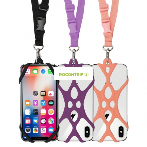 Rocontrip New Soft Silicone Lanyard Case Cover Holder Sling Adjustable Necklace Strap For Phones